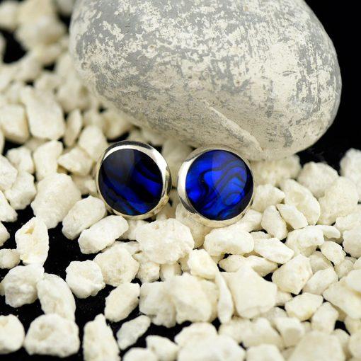 Cercei din argint, cu sidef albastru  Produs