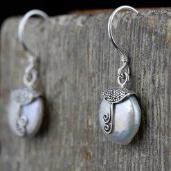 Cercei din argint, cu perla  Produs