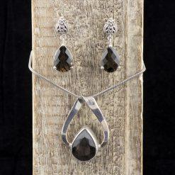Pandantiv si cercei din argint cu cuarț fumuriu