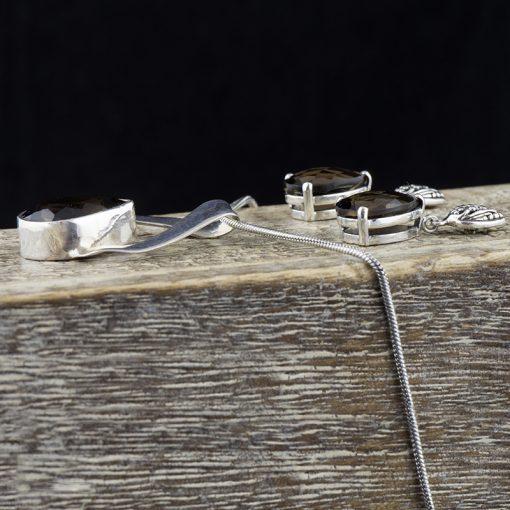 Cercei din argint, cu cuart fumuriu  Produs