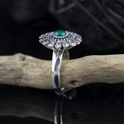 Inel din argint, cu marcasite si crisopraz