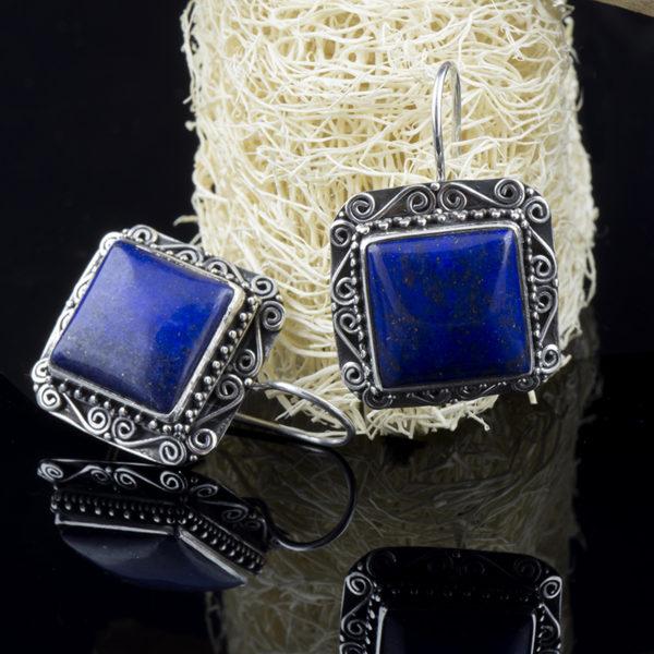 Cercei din argint, cu lazurit (lapis lazuli)