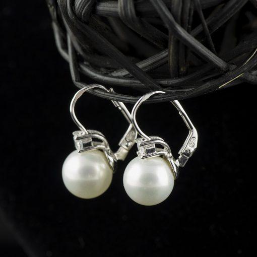 Cercei din argint, cu cristal si perla  Produs