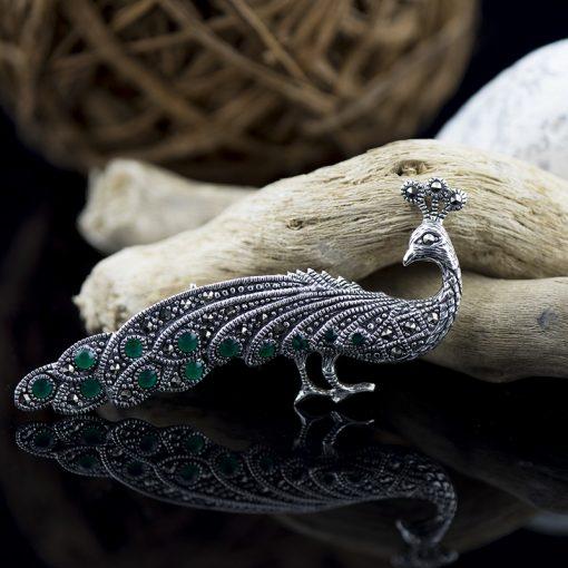 Brosa din argint cu marcasite si crisopraz