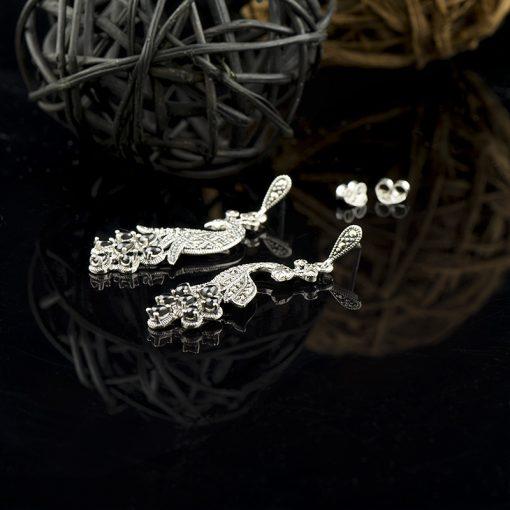 Cercei din argint cu marcasite si onix  Produs