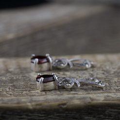 Cercei din argint cu granat  Produs