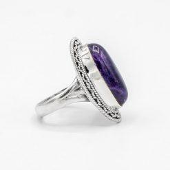 Inel din argint cu ametist cabușon
