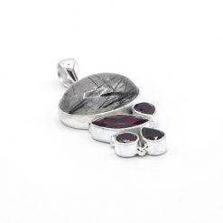 Pandantiv din argint cu granat si cuart rutilat