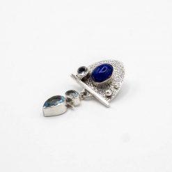 Pandantiv in argint cu lapis-lazuli si topaz