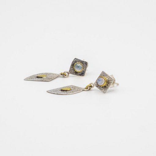 Cercei din argint cu insertii suflate cu aur cu piatra lunii