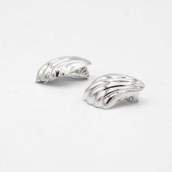 Cercei din argint sub forma de scoica cu clips