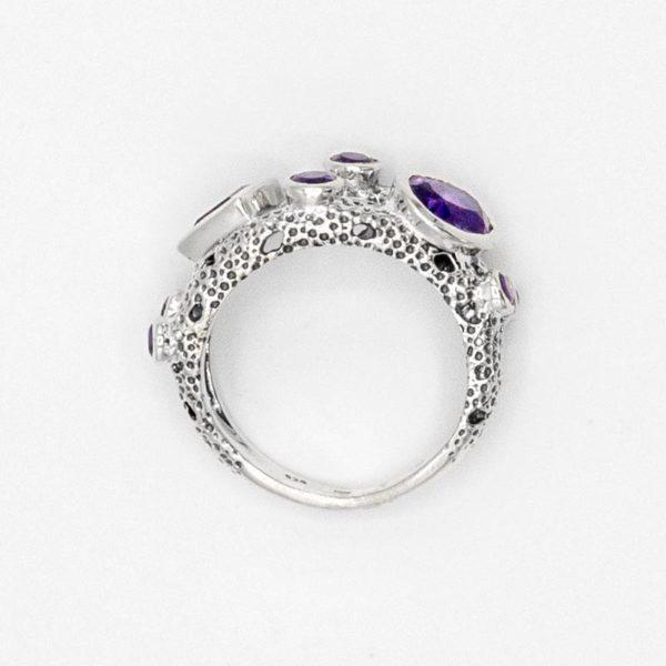 Inel din argint cu ametist fațetat