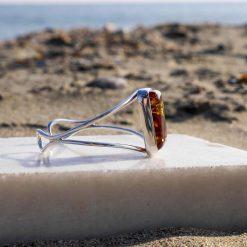 Brațară reglabilă din argint cu chihlimbar dreptunghiular
