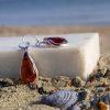 Cercei din argint și chihlimbar în formă de lacrimă